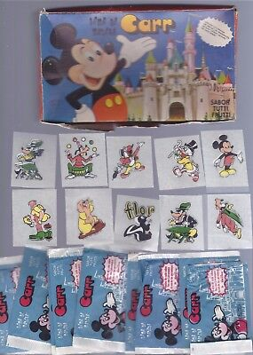 !970's DISNEY bubble gum stickers,10 loose &10 wrappers,display box,Mickey Mouse