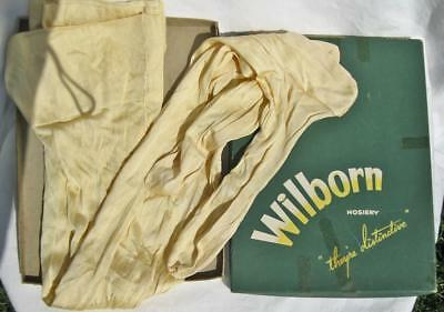 1 Pair Vintage Wilborn Pale Yellow Seamed Rayon Nylon Stockings Size 11 In Box
