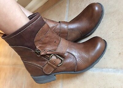 Earth Origins Beaumont  women's Leather Ankle Boots Brown Size 11M
