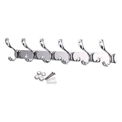 NEW Rack 12 Hooks Coat Hat Door Hanger Wall Mounted Rail Holders Stainless Steel