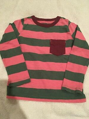 Mini Boden Girl's Boy's Pink Brown and Green Striped Shirt ~ Sz 2-3T~EUC