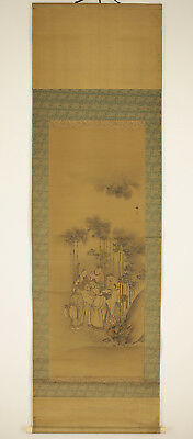 """Japanese Hanging Scroll : TANI BUNCHO """"Bamboo and Seven Wise Men""""  @r461"""
