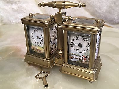 Rare Antique Solid Brass Unusual Mechanical Clock Thermometer Sn 3020 Working