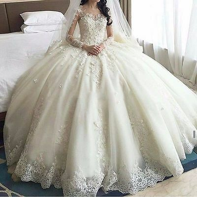 Hot Lace Wedding Dresses White/Ivory Bridal Ball Gown Custom Made Plus Size 2-28
