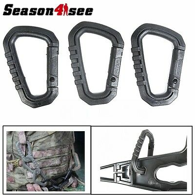 3PCS Outdoor Molle Tactical D type Quick Release Hook Hiking Buckle Keychain