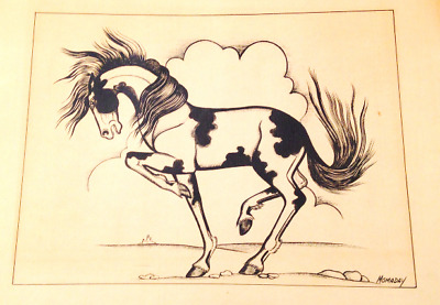 Vintage Print by Noted Native Artist Alfred Momaday (Haun Toa - War Lance)