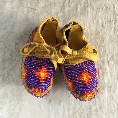 Native American Baby Moccasins Soft Sole Shoes Leather Boy Girl Handmade Toddler
