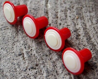 Vintage Set Of 4 Red & White Plastic Drawer Pulls Knobs FREE SHIPPING