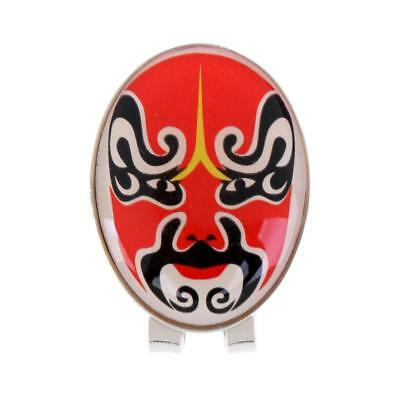 New Golf Ball Marker with Magnetic Hat Clip Peking Opera Mask Design Red