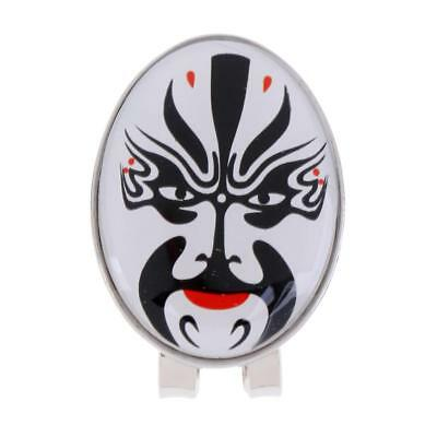 New Golf Ball Marker with Magnetic Hat Clip Peking Opera Mask Design White