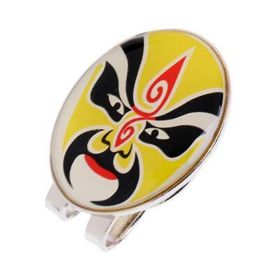 New Golf Ball Marker with Magnetic Hat Clip Peking Opera Mask Design Yellow