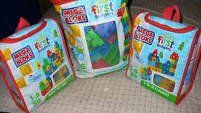 mega bloks 3 bags in total 100 blocks, letters, numbers and assorted size blocks