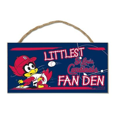 "St Louis Cardinals Littlest Fan 5""x10"" Fan Cave Wood Sign Authentic Wall Decor"