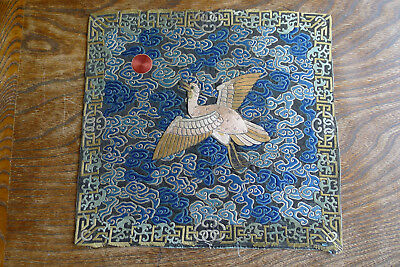 Unusual old Chinese embroidered silk rank badge with applied bird (N20)