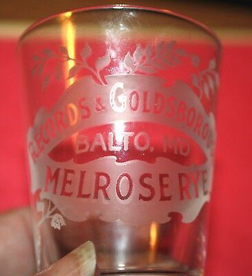 Early Pre-Prohibition Melrose Rye Etched Shot Glass~Records & Goldsborough! Nr!