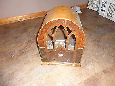 Collectible tube radio frame, original wood, Grill fabric frame. capital G stamp