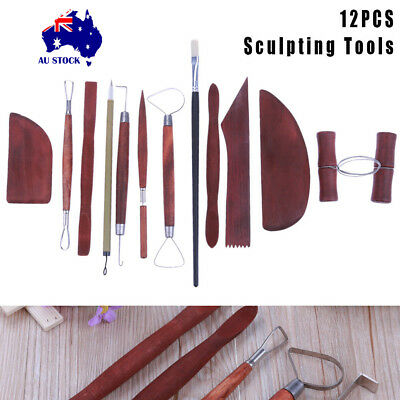 12X/Set Wooden Pottery Tools Shapers Carvers Clay Sculpting Craft DIY Tools AU