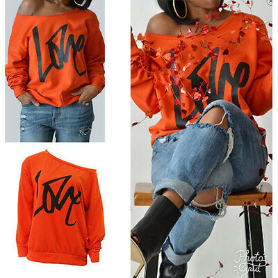 Women Off The Shoulder Oversized Slouchy Sweatshirt Pullover Baggy US STOCK