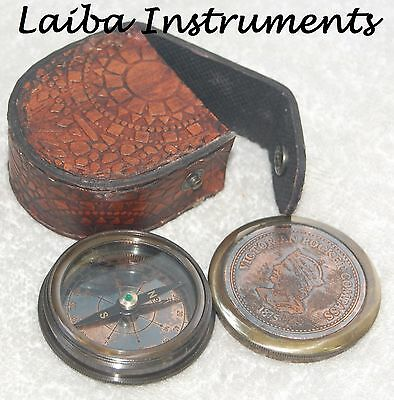 Victorian Pocket Compass Brass Nautical Compass Poem Compass With Leather Case