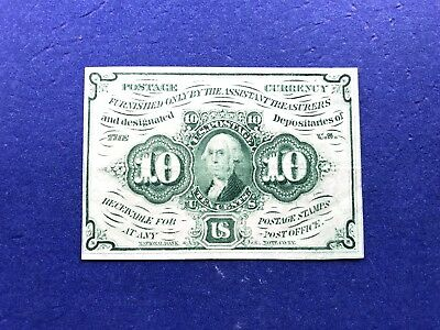 **CRISP-VIBRANT-XF++** 10c First Issue U.S. Fractional Currency Fr.1242