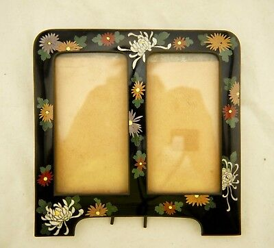 Hayashi Meiji Japanese Cloisonne silver wire floral jippo enamel picture frame