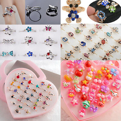 Adjustable Kids Mixed Wholesale 10 PCS Crystal MultiColor Rings Lovely Jewelry