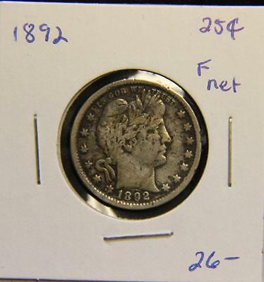 1892 Barber Quarter 90% Silver Sterling may be Previously cleaned