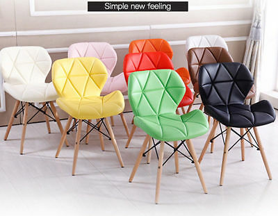 Eiffel Wooden Dining Office Living Room Chair Padded Seat Lounge Chairs