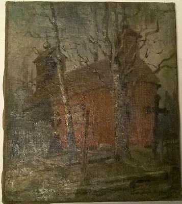 An unknown artist, Cemetery house, Art Painting Russian 19 century