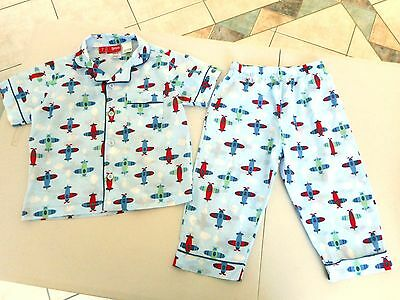 Baby toddler boys Size 1 - 2 Long pants short sleeves cotton pyjamas PJs planes