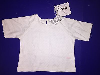 NWT New With Tags Bebe Australia Girls White Long Sleeved cotton Top Sz 00 6m