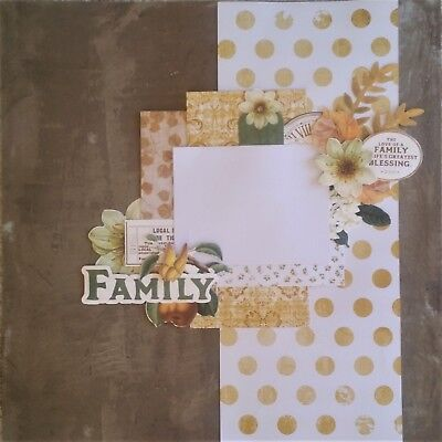 handmade premade scrapbook page layout 12 X 12 -  Family