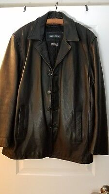WHET BLU Men's Black Leather Jacket size SMALL button front