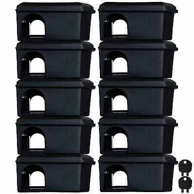 10 x Mouse Mice Rodent Bait Station Box - holds poison for internal pest control