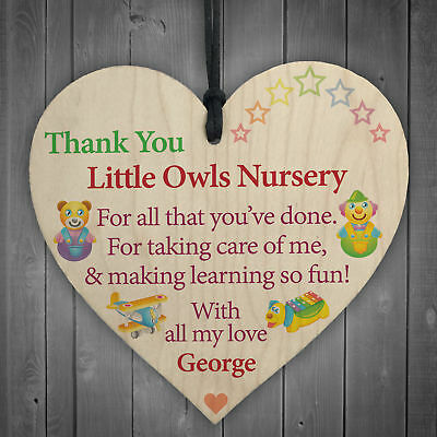 Personalised Thank You Nursery Teacher Gift Hanging Plaque Pre-School Home Sign