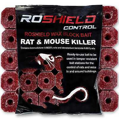 Roshield Rat & Mouse Wax Rodent Bait Killer Pest Blocks - Strong Poison Control