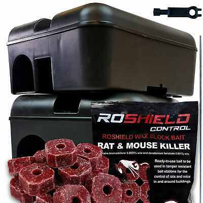 Rat & Mouse Rodent Poison Killer Block Bait External Trap Box Control Kit