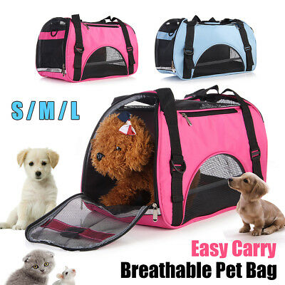 S/M/L Pet Cat Dog Puppy Backpack Handbag Carry Bag Travel Kennel Crate Cage UK