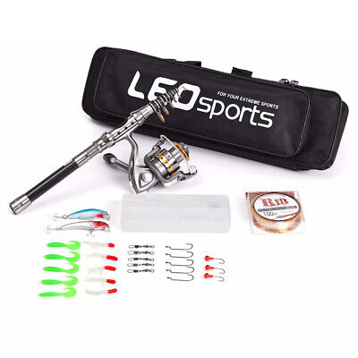 Telescopic Rod and Reel Combo Travel Spinning Fishing Pole Line Kit with Bag
