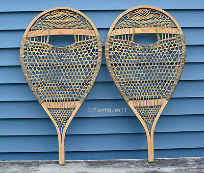Superb FABER Quebec WINTER SNOWSHOES bear paw shape nice patina 1960s 34 x 17