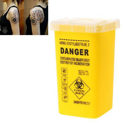 Tattoo Medical Plastic Sharps Containers Biohazard Needles Disposal 1L Waste Box