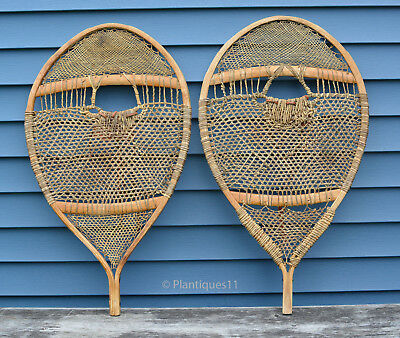 OLD WINTER SNOWSHOES Large BEAR PAW 31 x 18 VINTAGE 1950s Quebec Indian Made
