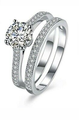 2.0ct 2pc Engagement Wedding Ring Set In 925 Sterling Silver , UK Seller.