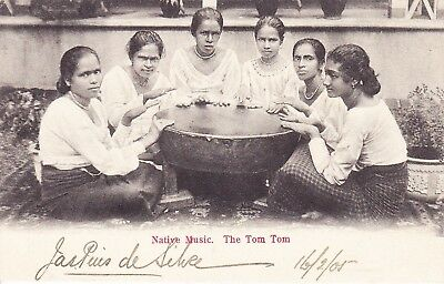 Ceylon: Native Music.  The Tom Tom, Postcard, 1905