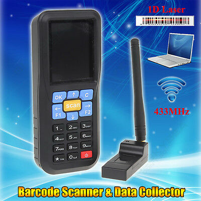 Portable Wireless 433MHz BarCode Data Reader Collectioin Inventory Laser Scanner