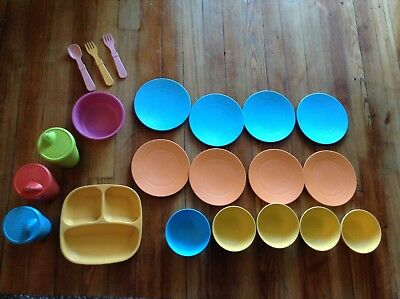 Re-Play Green Toys Eco-friendly dishes Kid Toddler  Cups Plates Bowls Spoon Fork