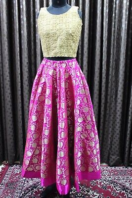 Indian Designer Partywear Bridal Wedding Pink Banarasi Gold Lehenga Choli