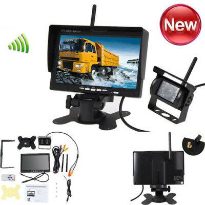 "Wireless IR Night Vision Rear View Back up Camera System+7"" Monitor for RV Truck"