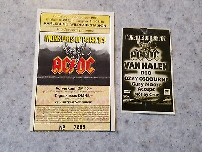 1984 Monsters of Rock Germany concert ticket stub  with magazine ad