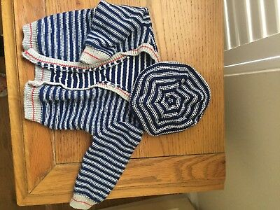 Baby Boys Knitted Set Hat And Cardigan Blue Stripes 0-3 Months